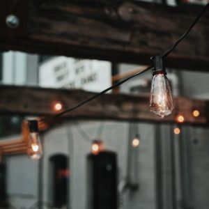 simple patio string lights
