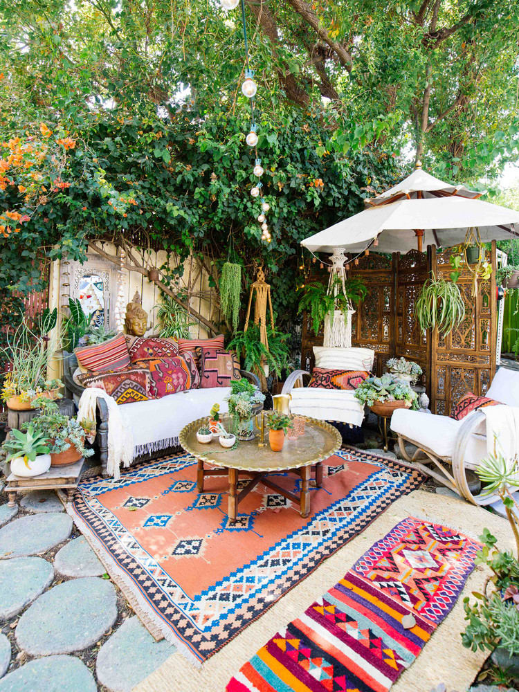 Cute and trendy boho outdoor patio
